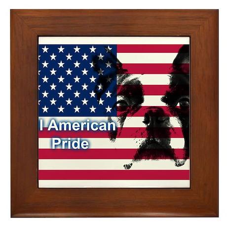 All American Pride, Boston Terrier Framed Tile