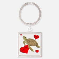 Personalized Turtle Square Keychain