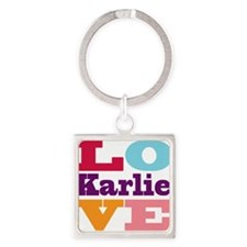 I Love Karlie Square Keychain