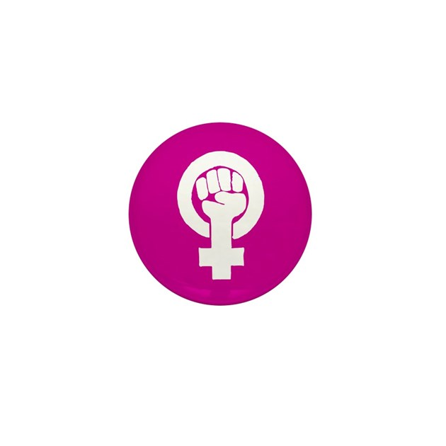Pink Feminist Symbol Mini Button By Purpleplanet