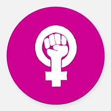 Pink feminist symbol Round Car Magnet