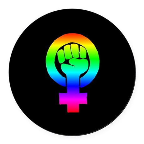 Rainbow feminist symbol Round Car Magnet by PurplePlanet