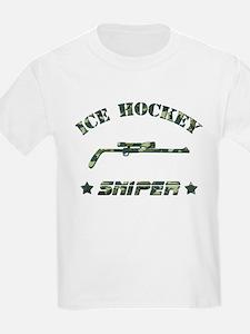 Ice Hockey Sniper (green camo) T-Shirt