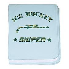 Ice Hockey Sniper (green camo) baby blanket