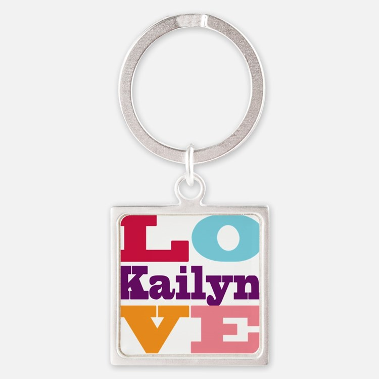 I Love Kailyn Square Keychain