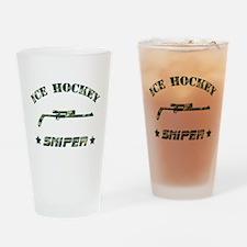 Ice Hockey Sniper (green camo) Drinking Glass