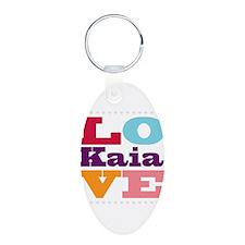 I Love Kaia Aluminum Oval Keychain