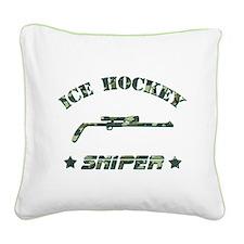Ice Hockey Sniper (green camo) Square Canvas Pillo