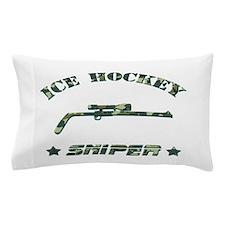 Ice Hockey Sniper (green camo) Pillow Case