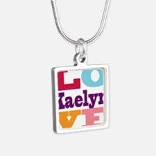 I Love Kaelyn Silver Square Necklace