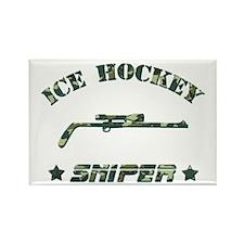 Ice Hockey Sniper (green camo) Rectangle Magnet (1