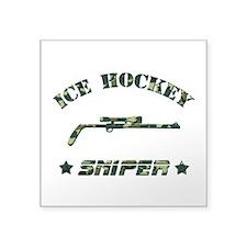 Ice Hockey Sniper (green camo) Square Sticker 3&qu