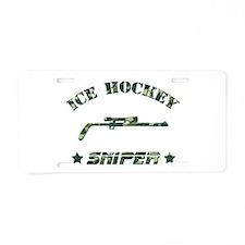 Ice Hockey Sniper (green camo) Aluminum License Pl