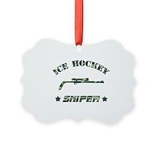 Ice Hockey Sniper (green camo) Ornament