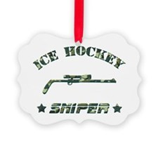 Ice Hockey Sniper (green camo) Picture Ornament