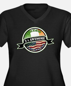 2x Awesome Irish American Women's Plus Size V-Neck
