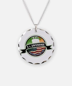 2x Awesome Irish American Necklace Circle Charm