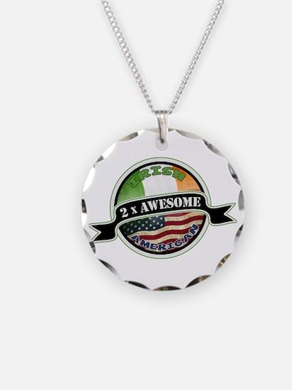2x Awesome Irish American Necklace Circle Charm