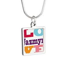 I Love Jazmyn Silver Square Necklace