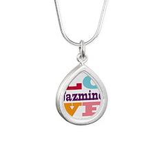 I Love Jazmine Silver Teardrop Necklace