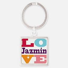 I Love Jazmin Square Keychain