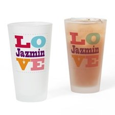I Love Jazmin Drinking Glass