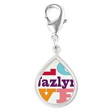 I Love Jazlyn Silver Teardrop Charm