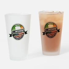 2x Awesome Irish American Drinking Glass