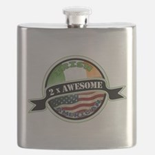 2x Awesome Irish American Flask