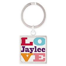 I Love Jaylee Square Keychain