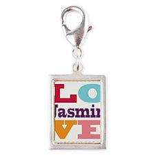 I Love Jasmin Silver Portrait Charm