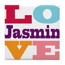 I Love Jasmin Tile Coaster