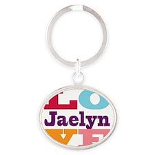 I Love Jaelyn Oval Keychain