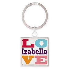 I Love Izabella Square Keychain