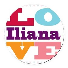 I Love Iliana Round Car Magnet