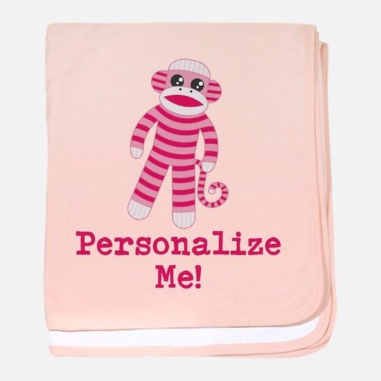 Pink Sock Monkey baby blanket