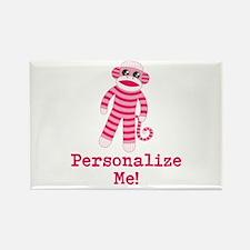 Pink Sock Monkey Rectangle Magnet (10 pack)
