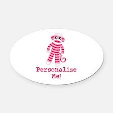 Pink Sock Monkey Oval Car Magnet