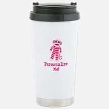 Pink Sock Monkey Stainless Steel Travel Mug