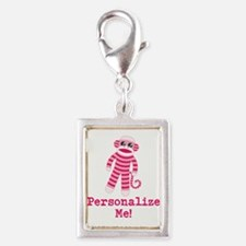Pink Sock Monkey Silver Portrait Charm