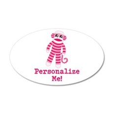 Pink Sock Monkey 20x12 Oval Wall Decal