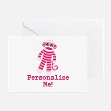 Pink Sock Monkey Greeting Card