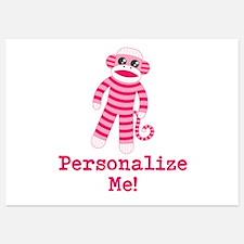 Pink Sock Monkey Invitations