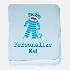 Baby Blue Sock Monkey baby blanket