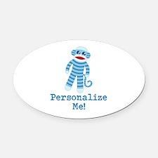 Baby Blue Sock Monkey Oval Car Magnet