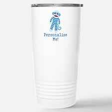 Baby Blue Sock Monkey Stainless Steel Travel Mug