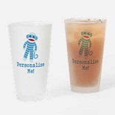 Baby Blue Sock Monkey Drinking Glass