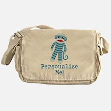 Baby Blue Sock Monkey Messenger Bag
