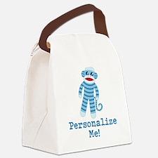 Baby Blue Sock Monkey Canvas Lunch Bag