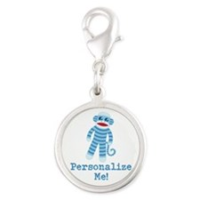 Baby Blue Sock Monkey Silver Round Charm